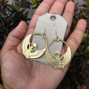 Raw Brass Goddess Isis Earrings